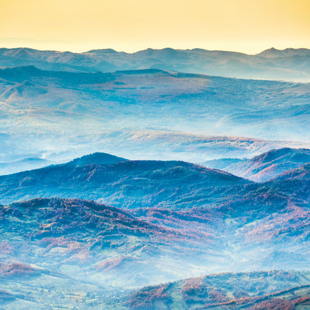 majestic: Beautiful blue mountains and hills at sunset time Stock Photo