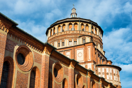 vinci: Church of Holy Mary of Grace- Chiesa di Santa Maria delle Grazie, 1497, Milan, Italy, home of the famous Cenacolo from Leonardo da Vinci.