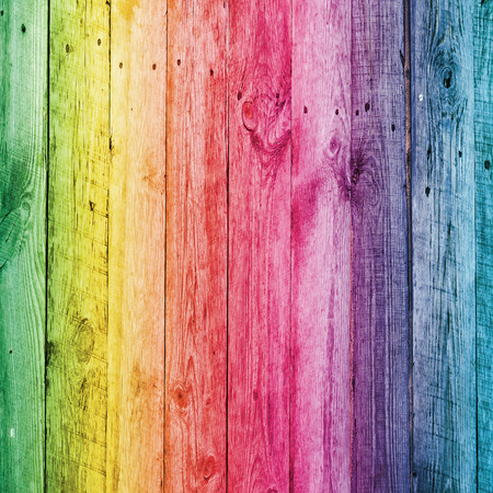 Rainbow wooden desk for background. Full natural colors of spectrum on board Фото со стока - 48852283