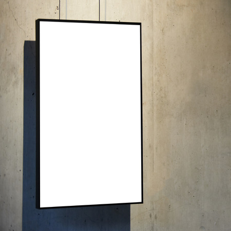 blank frame: Empty white isolated frame on the wall