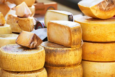 queso fresco blanco: Diferentes tipos de explotación abonado queso italiano producida a partir de leche de cabra Foto de archivo