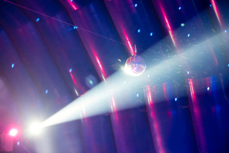 blue ray: Disco ball and blue light ray on the stage