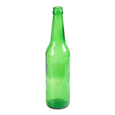 green beer bottle: Open empty green beer bottle isolated on the white background