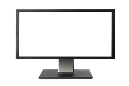 lcd: Wide lcd monitor with empty screen isolated on white background