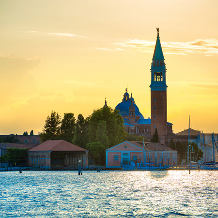 sea mark: Sunset in Venice. View from the sea to Saint Mark square