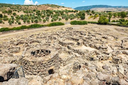 settlements: Ruins of ancient city. Nuraghe culture, Sardinia, Italy Stock Photo