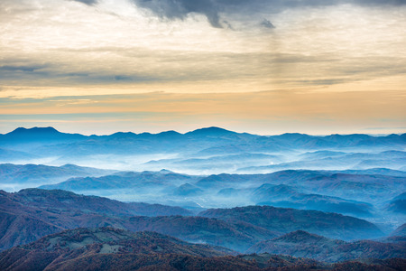 Beautiful blue mountains and hills. Landscape at sunset time