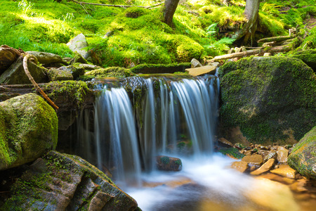 cascade mountains: Beautiful waterfall in the green forest. Cascade of motion water Stock Photo