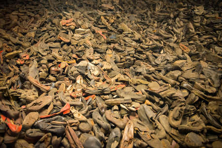 oswiecim: Pile of shoes from the people who were killed by nazis in Auschwitz Stock Photo