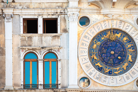 st marks square: Zodiac astronomical Clock Tower Torre dell Orologio at st. Marks Square Piazza San Marko in Venice, Italy Stock Photo