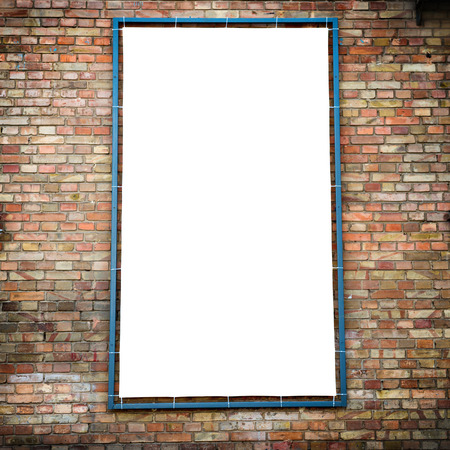 billboards: Empty white isolated billboard on the red brick wall Stock Photo