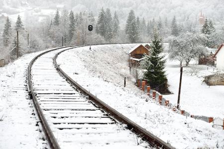 railway: Railway in snow. Winter landscape with empty rail tracks