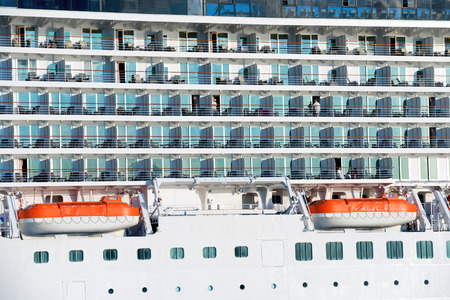 lifeboats: Board of luxury cruise ship with many decks