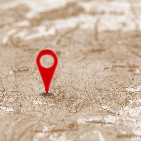 pin point: Red pin, point on the old abstract noname map. Concept travel background