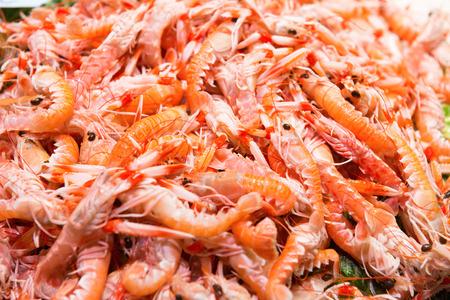 camaron: Pila de camarones frescos rojos en el mercado. Pescados y mariscos de la textura para el fondo Foto de archivo
