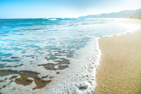 sea wave: Tropical beach with sand and sea wave at background Stock Photo
