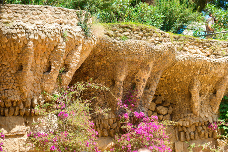 Stone columns in colonnade of Park Guell, designed by Gaudi, Barcelona, Catalonia, Spain