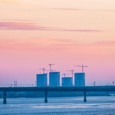dnepr: Spectacular sunset city view with bridge over Dnepr river. Kiev, Ukraine