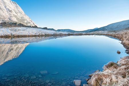 Beautiful blue lake in the mountains, morning sunrise time. Landscape with snow and frozen nature