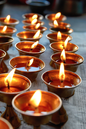 Rows of candles in the indian temple