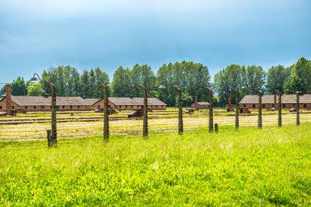 oswiecim: Barracks in former Nazi concentration camp Birkenau, Oswiecim, Poland