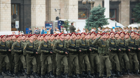 dedicated: KIEV, UKRAINE - AUGUST 24, 2016: Military parade in Kyiv, dedicated to the Independence Day of Ukraine, 25th anniversary. Rows of military troops on Khreshchatyk street