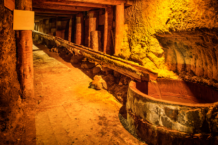 Underground tunnel, corridor in old salt mine Stock Photo