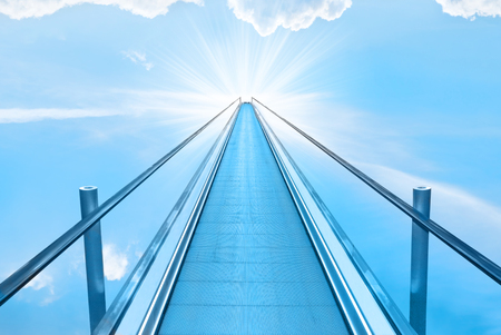 heaven: Stairway to heaven with blue sky, clouds and god sun light. Religion concept