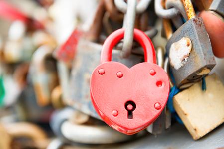 Love red romance lock on the bridge