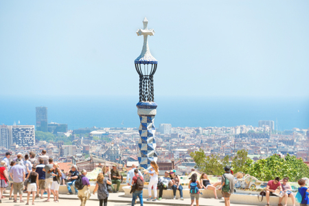 Park Guell with tourists- crowd of people in Barcelona, Spain