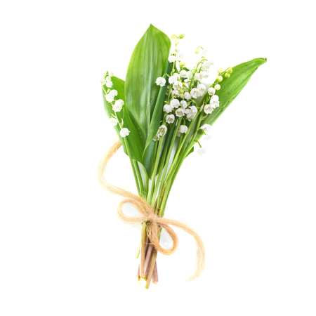Bouquet of white flowers lilies of the valley with ribbon isolated on white background 免版税图像 - 95008794