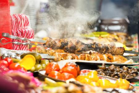 Food street festive of traditional asian cuisine on market