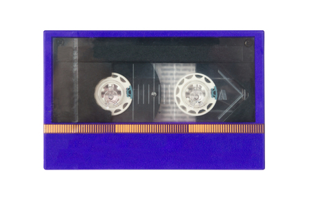 Old blue cassete tape mint condition in box isolated on white background