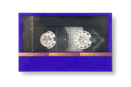 Old blue cassete tape mint condition in box with shadow isolated on white background