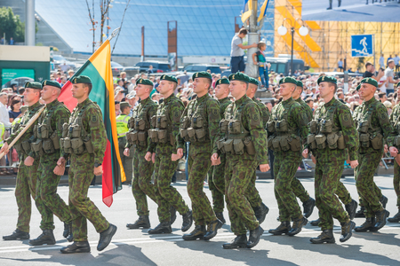 KIEV, UKRAINE - AUGUST 24, 2018: Military parade in Kiev, dedicated to the Independence Day of Ukraine, 27th anniversary. Marching NATO military troops from Lithuania on Khreshchatyk street
