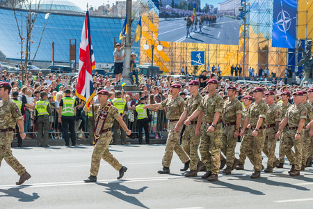 KIEV, UKRAINE - AUGUST 24, 2018: Military parade in Kiev, dedicated to the Independence Day of Ukraine, 27th anniversary. Marching NATO military troops from Great Britain on Khreshchatyk street