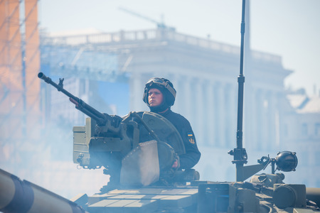 KIEV, UKRAINE - AUGUST 24, 2018: Military parade in Kiev, dedicated to the Independence Day of Ukraine, 27th anniversary. Tanks and other military vehicles on Khreshchatyk street Editorial