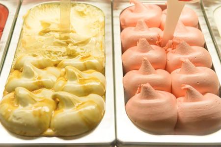 Gelato ice cream in sweet food shop