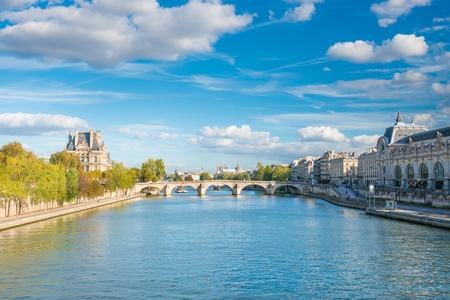 Paris cityscape with view over Seine river on Grand Palais and Quai d'Orsay 写真素材