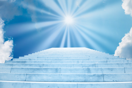 Sun shining on sky on marble staircase with stairs in abstract luxury architecture. Religious concept
