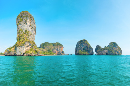 Panorama view of beautiful sea landscape with turquoise water and tropical rock islands