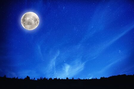 Big full moon on night sky with stars and forest on background 写真素材