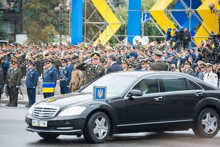 KIEV, UKRAINE - AUGUST 24, 2016: Military parade in Kyiv, dedicated to the Independence Day of Ukraine, 25th anniversary. Arriving president Petro Poroshenko to Khreshchatyk street Editorial