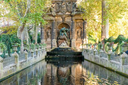 Romantic baroque style fountain Medici in luxembourg garden. Paris, France