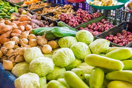Fresh vegetables at traditional asian market. Can be used as food background