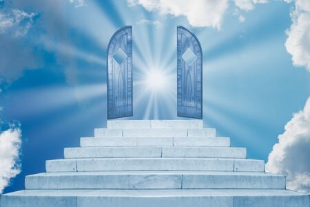 Sun rays shining through door on sky on marble staircase with stairs in abstract luxury architecture. Religious concept
