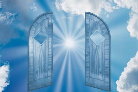 Sun rays shining on sky through open door. Religious concept