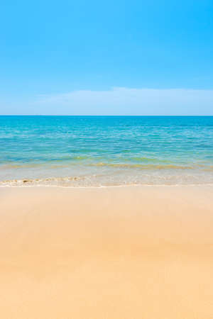 Blue sea blue water and sand beach with blue sky as summer holiday vacation background
