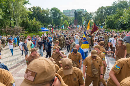 KIEV, UKRAINE - AUGUST 24, 2020: March of defenders, parade in Kyiv, dedicated to the Independence Day of Ukraine, 29th anniversary.