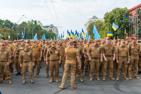 KIEV, UKRAINE - AUGUST 24, 2020: March of defenders, parade in Kyiv, dedicated to the Independence Day of Ukraine, 29th anniversary. 版權商用圖片 - 155239917